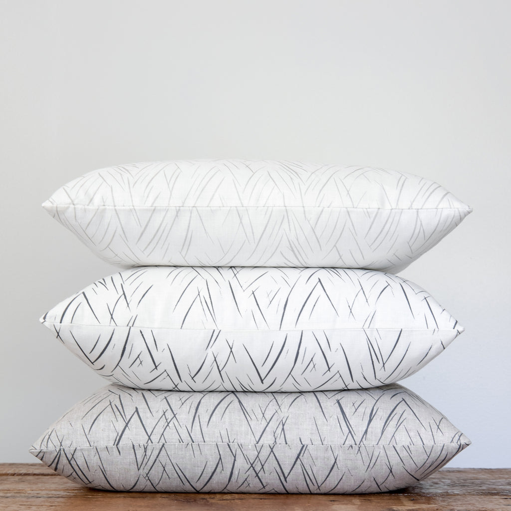 Sketched Stripe Pillow - Charcoal Gray on Oatmeal