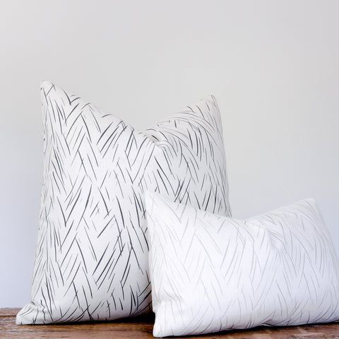 Sketched Stripe Pillow - Charcoal Gray on Oyster