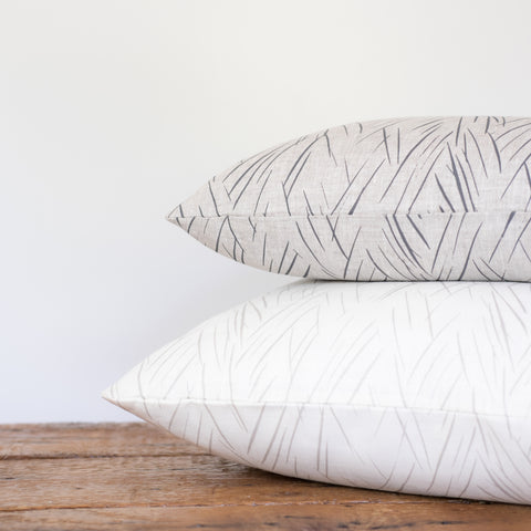 Sketched Stripe Pillow - Silver on Oyster