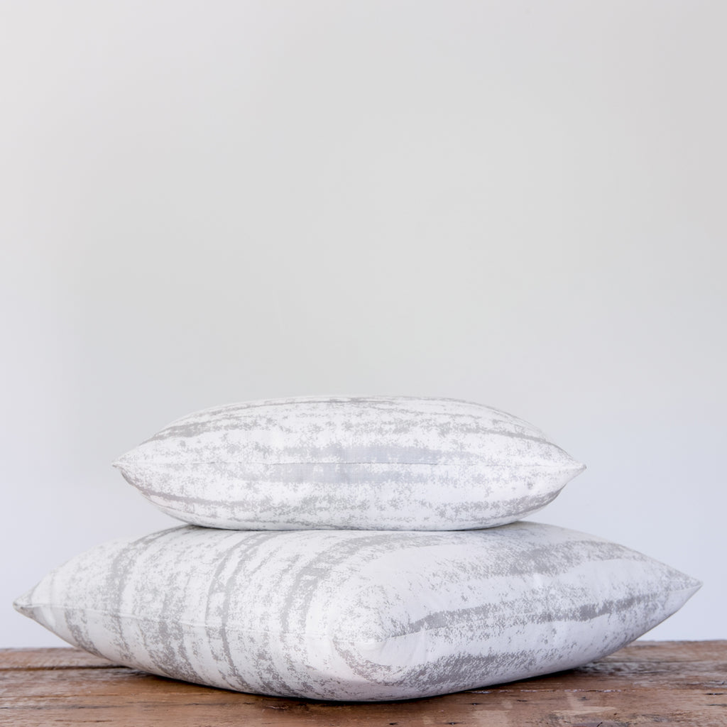 Strom Pillow - Silver on Oyster