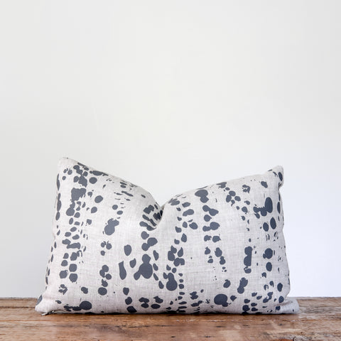 Splotches Pillow - Charcoal Gray on Oatmeal