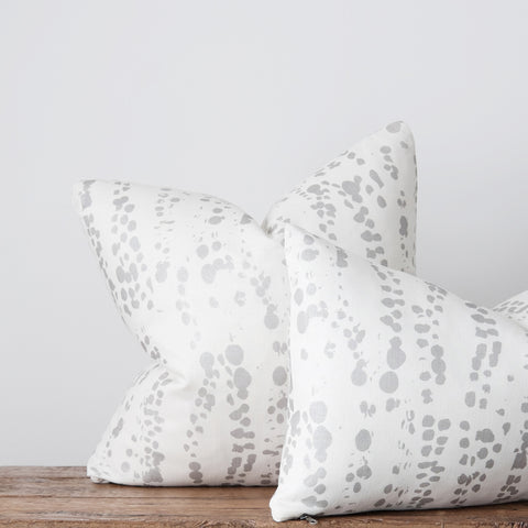 Splotches Pillow - Silver on Oyster