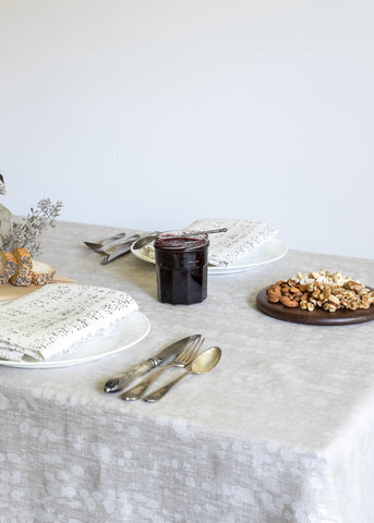 Splotches Table Cloth - Metallic Pearl on Oatmeal