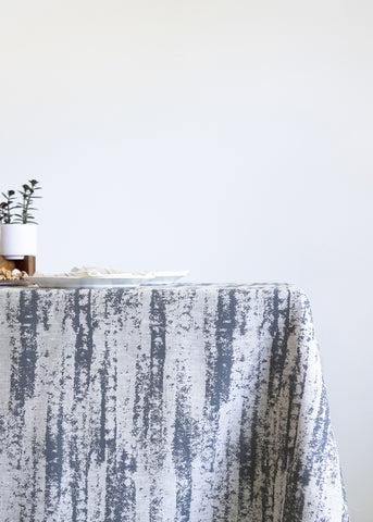 Storm Table Cloth - Charcoal Gray on Oatmeal