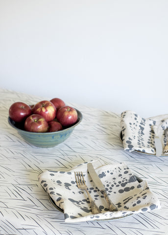 Splotches Napkins - Charcoal Gray on Oatmeal