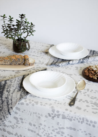 Splotches Table Cloth - Metallic Silver on Oyster