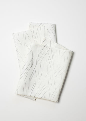Sketched Stripe Napkins - Silver on Oyster