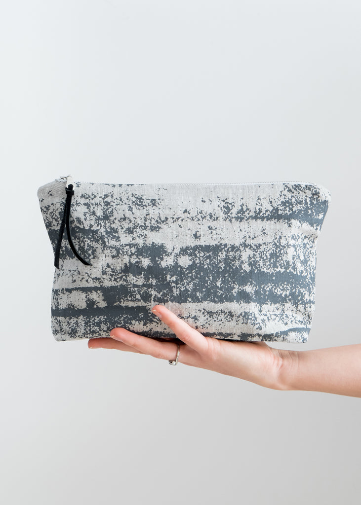 Splotches Large Pouch - Charcoal Gray on Oatmeal