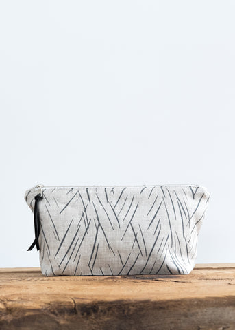 Scattered Stripe Large Pouch - Charcoal Gray on Oatmeal