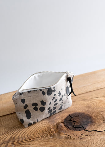 Splotches Medium Pouch - Charcoal on Oatmeal