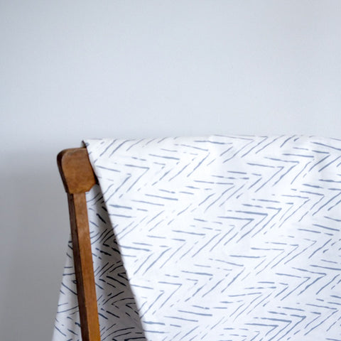 Scattered Stripe in Sky Gray Fabric