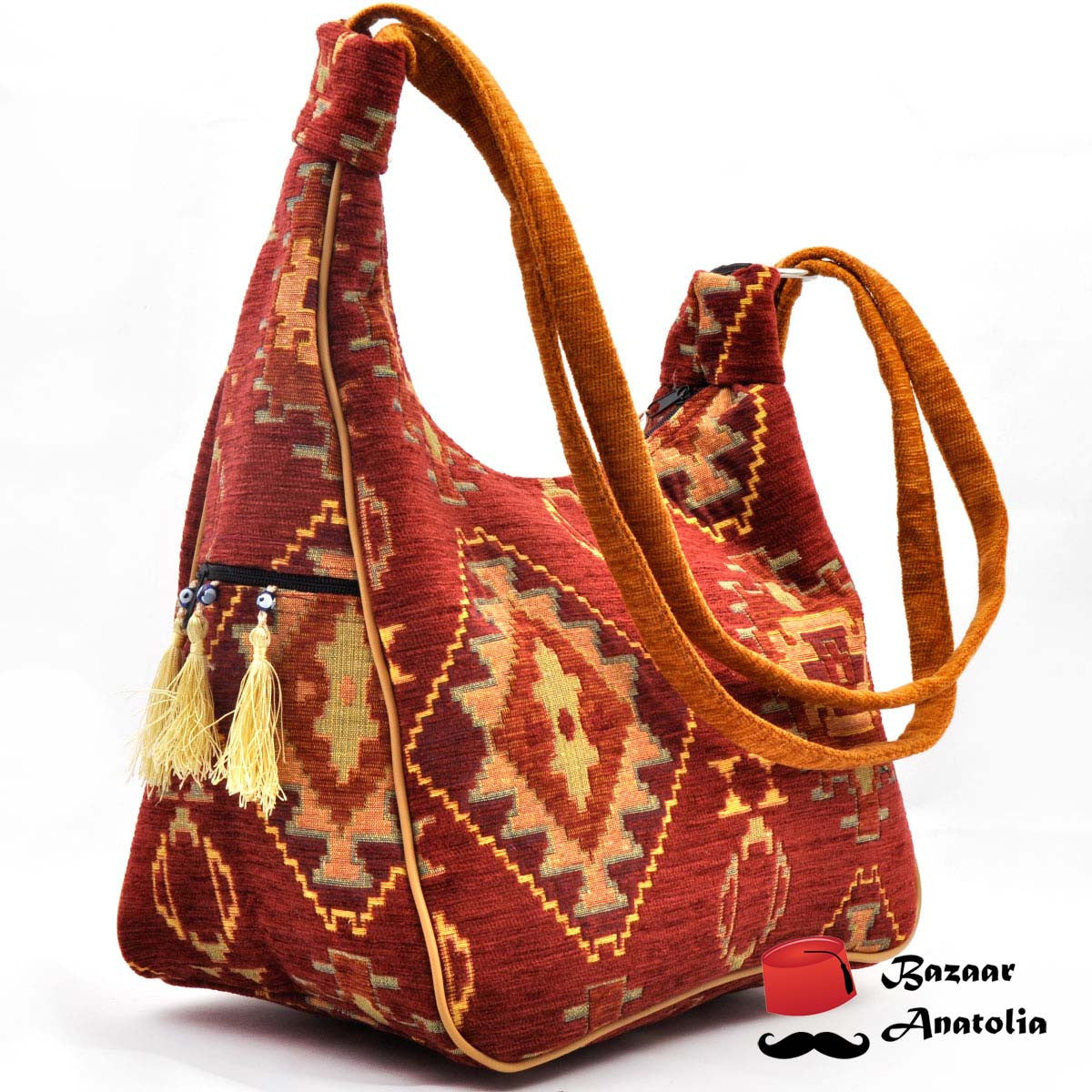 Brick Color Kilim Design Bag Multiple Use - Bazaar Anatolia  - 1