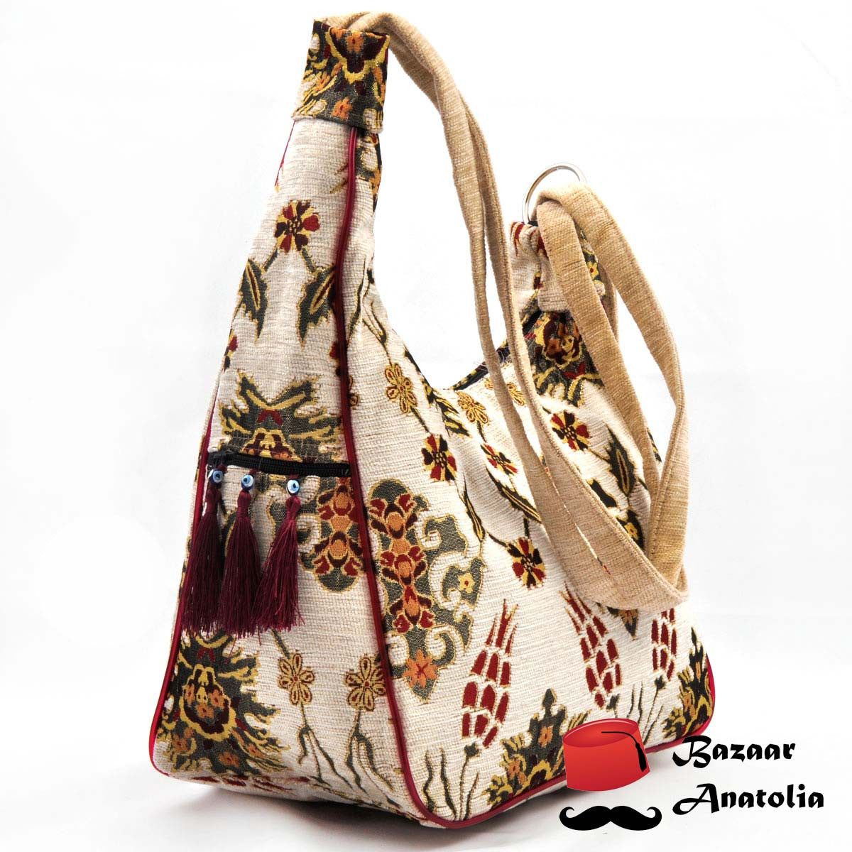 Cream Kilim Design Bag Multiple Use - Bazaar Anatolia  - 1
