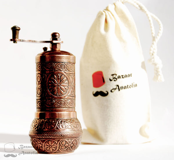 Pepper mill, Turkish grinder, spice grinder, metal pepper mill