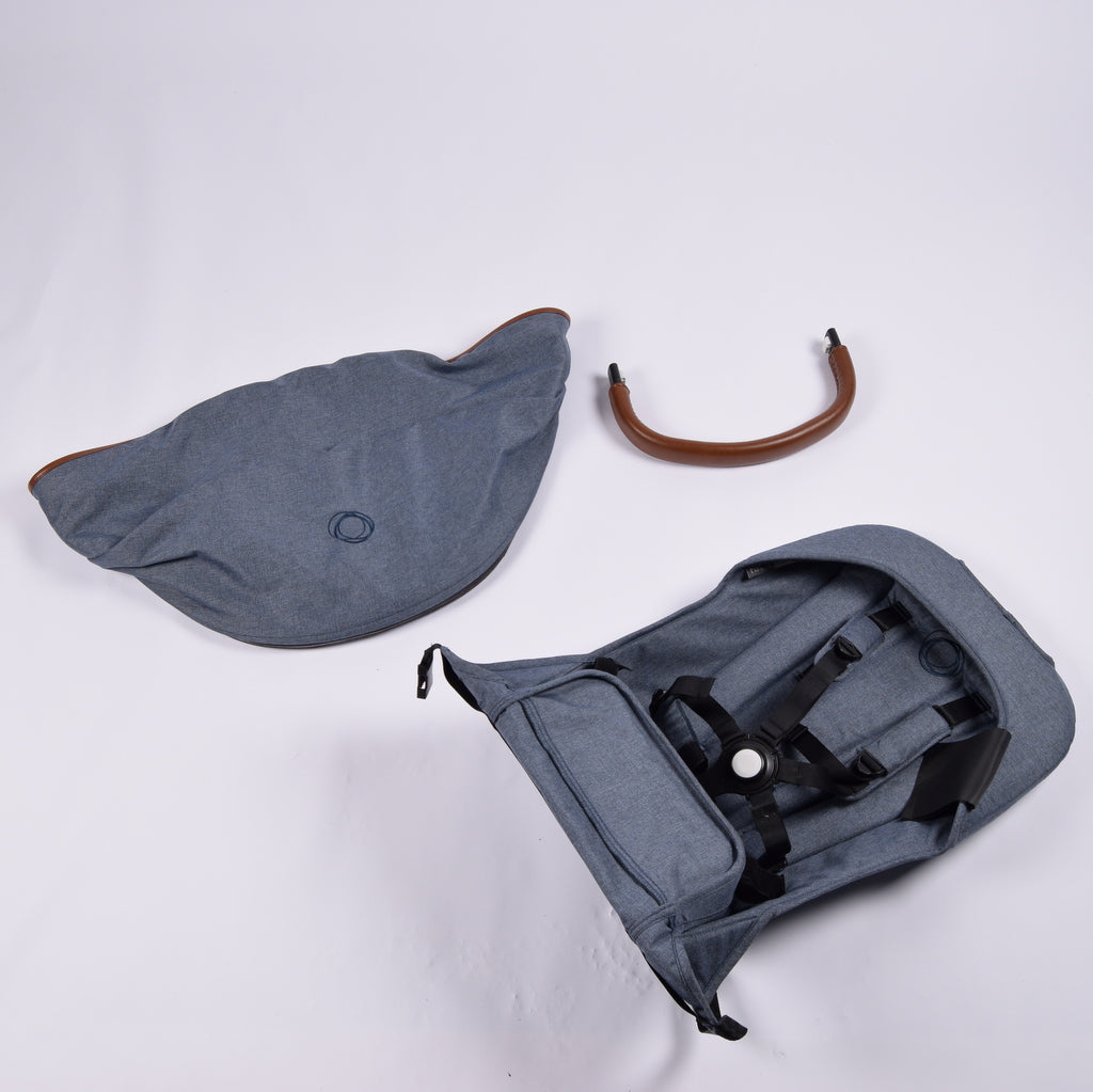 Bugaboo Donkey Seat Unit + Hood + Brown Leather Bumper Bar, LIMITED EDITION Denim - Grade 1