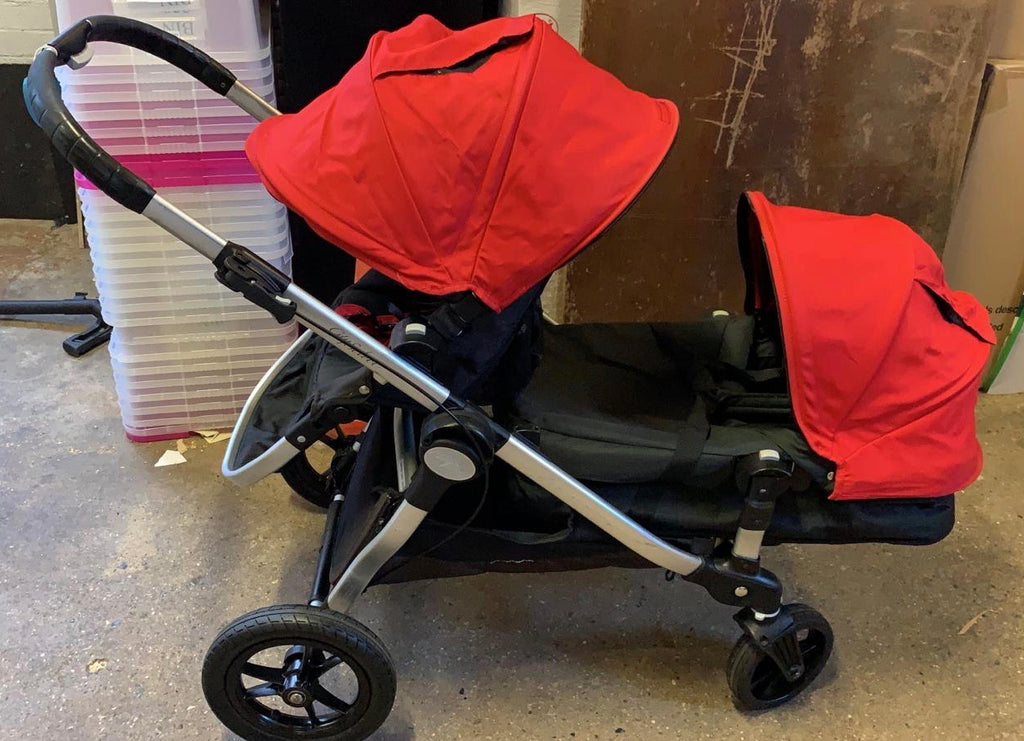 Baby Jogger City Select Tandem (2 Carrycot + 2 Seats), Black + Red - Grade 2
