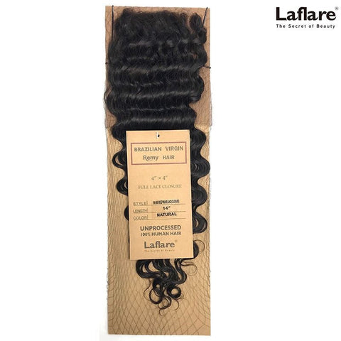 "LAFLARE VIRGIN REMY HAIR 100% UNPROCESSED HUMAN HAIR 4""X4"" FULL LACE CLOSURE DEEP WAVE"