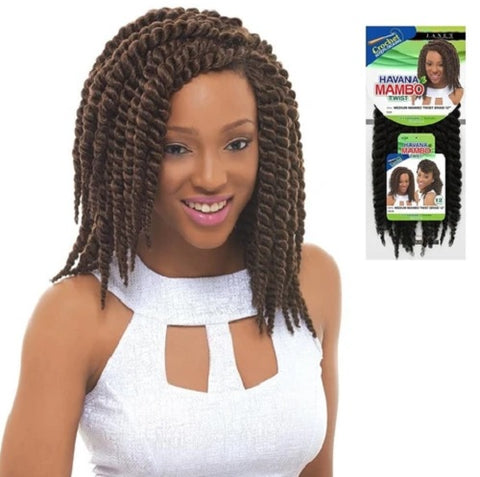 Janet Collection Synthetic Crochet Braid HAVANA MEDIUM MAMBO TWIST 12""