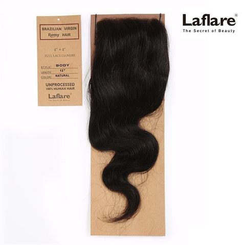 "LAFLARE BRAZILIAN VIRGIN REMY HAIR 100% UNPROCESSED HUMAN HAIR 4""X4"" FULL LACE CLOSURE BODY WAVE"