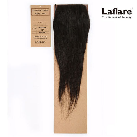 "LAFLARE VIRGIN REMY HAIR 100% UNPROCESSED HUMAN HAIR 4""X4"" FULL LACE CLOSURE STRAIGHT"