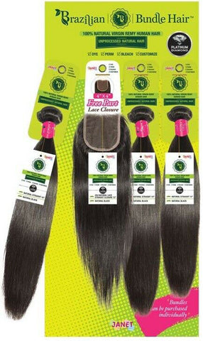 Janet Brazilian 100% Natural Virgin Remy Bundle Hair STRAIGHT with FREE Part Closure
