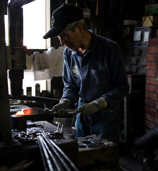 Anryu-san works daily in Anryu Hamono, and is a very important part of Takefu Knife Village. Photo by Visti Kjar, Down North Photography.
