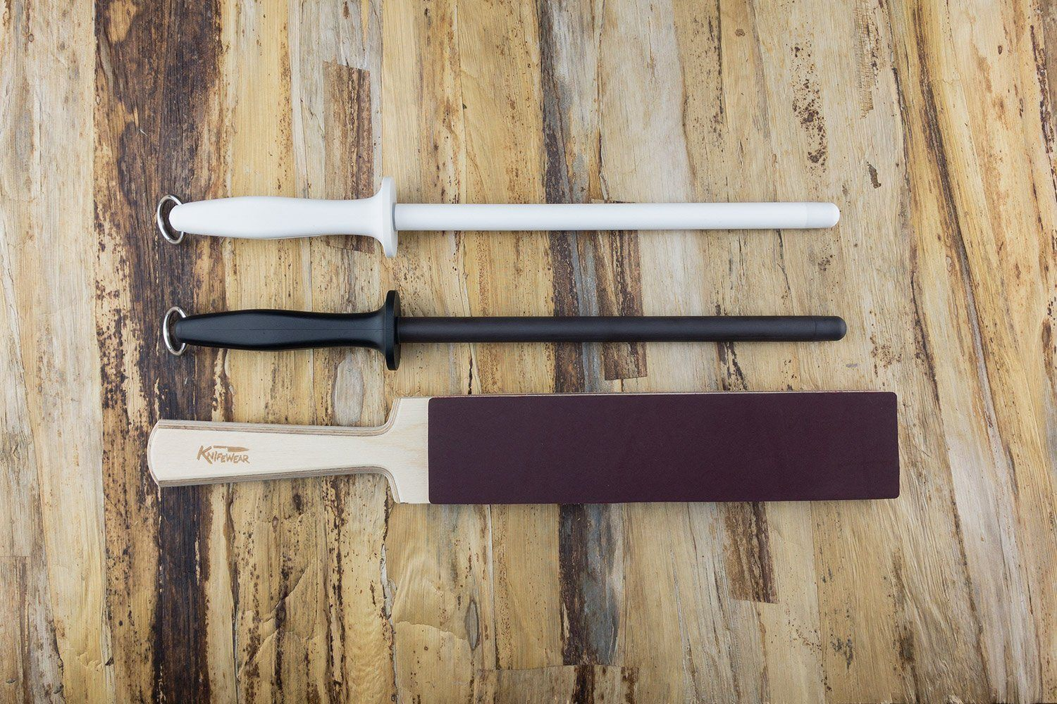 Professional Honing Kit - White and Black Rods and Leather/Suede Strop