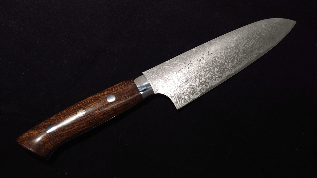 Saji R2 Nickel Damascus Ironwood Western Santoku 165mm