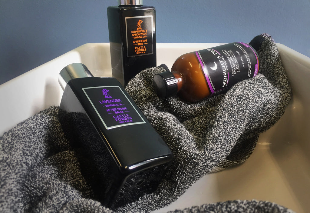 Castle Forbes Lavender and Cedar and Sandalwood Aftershave Balm and Midnight and Two aftershave