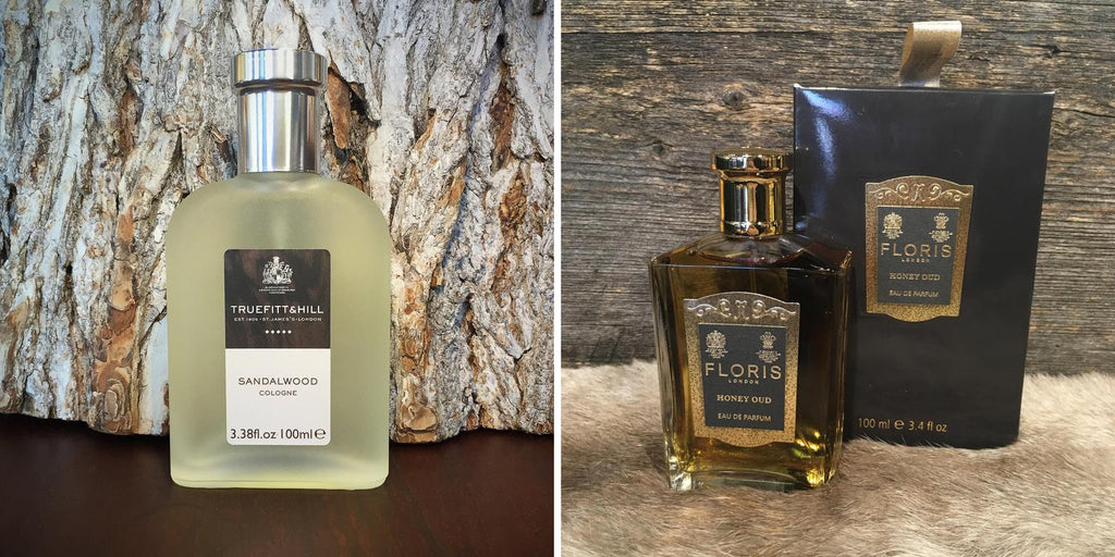 Left: Truefitt & Hill Sandalwood Cologne  - Right: Floris Honey Oud