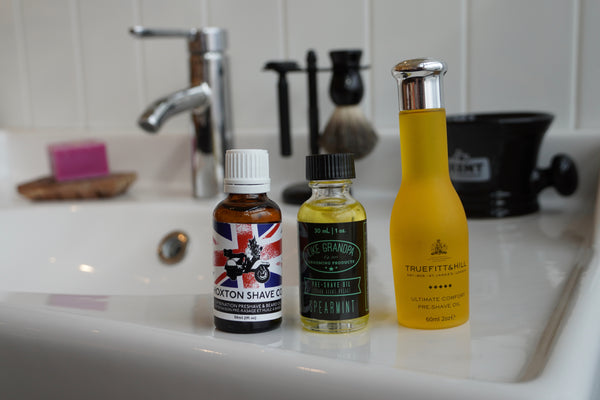 A few of our favourite preshave oils, Hoxton, Like Grandpa, and Truefitt & Hill
