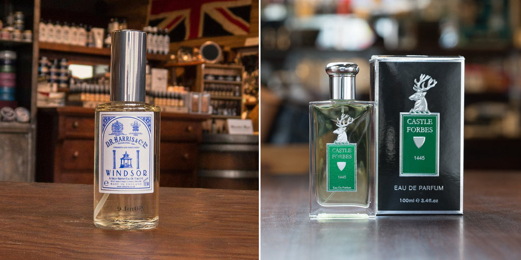 Left: D.R. Harris Windsor Eau de Toilette - Right: Castle Forbes 1445