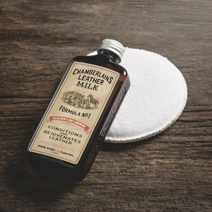 Chamberlain's Leather Milk - Leather Care Liniment/ Moisturizer No.1 6oz w/ Applicator Pad