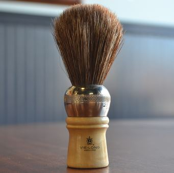 Vie-Long Cachurro Professional Horse Hair Shaving Brush, Metal-Wood Handle
