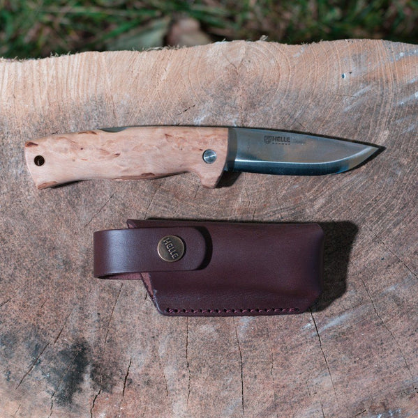 Helle Knives Dokka 85mm Folding Knife, Curly Birch Handle w/ Leather Sheath