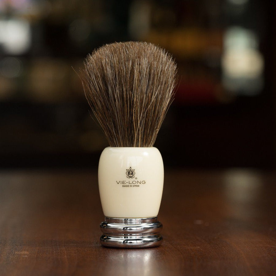 Vie-Long Shaving Brush, Brown Horse Hair Acrylic and Metal, Ivory and Silver.