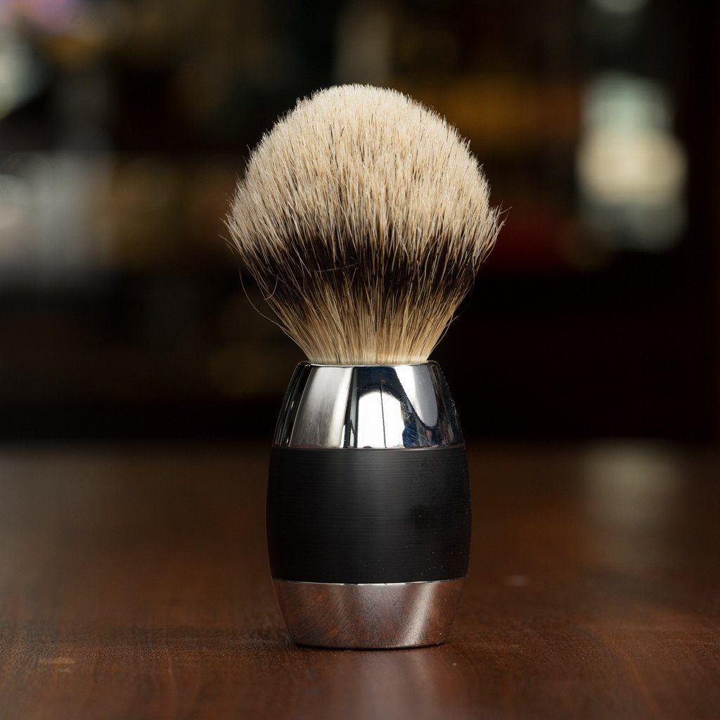 Merkur Chrome and Black Silvertip Badger Hair Shaving Brush
