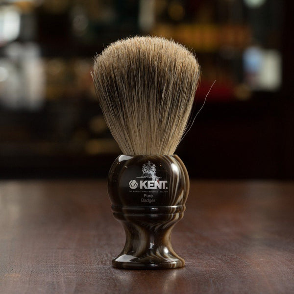 Kent of England Pure Badger Hair Shaving Brush, Medium, Horn