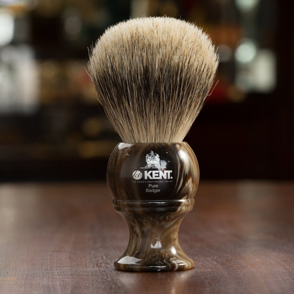Kent of England Pure Badger Hair Shaving Brush, Large, Horn