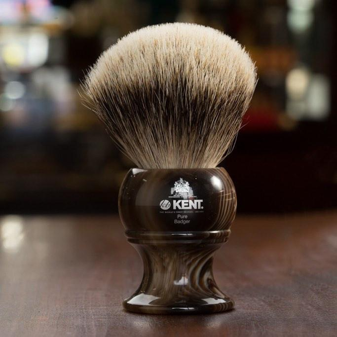 Kent of England Pure Badger Hair Shaving Brush, King Size, Horn