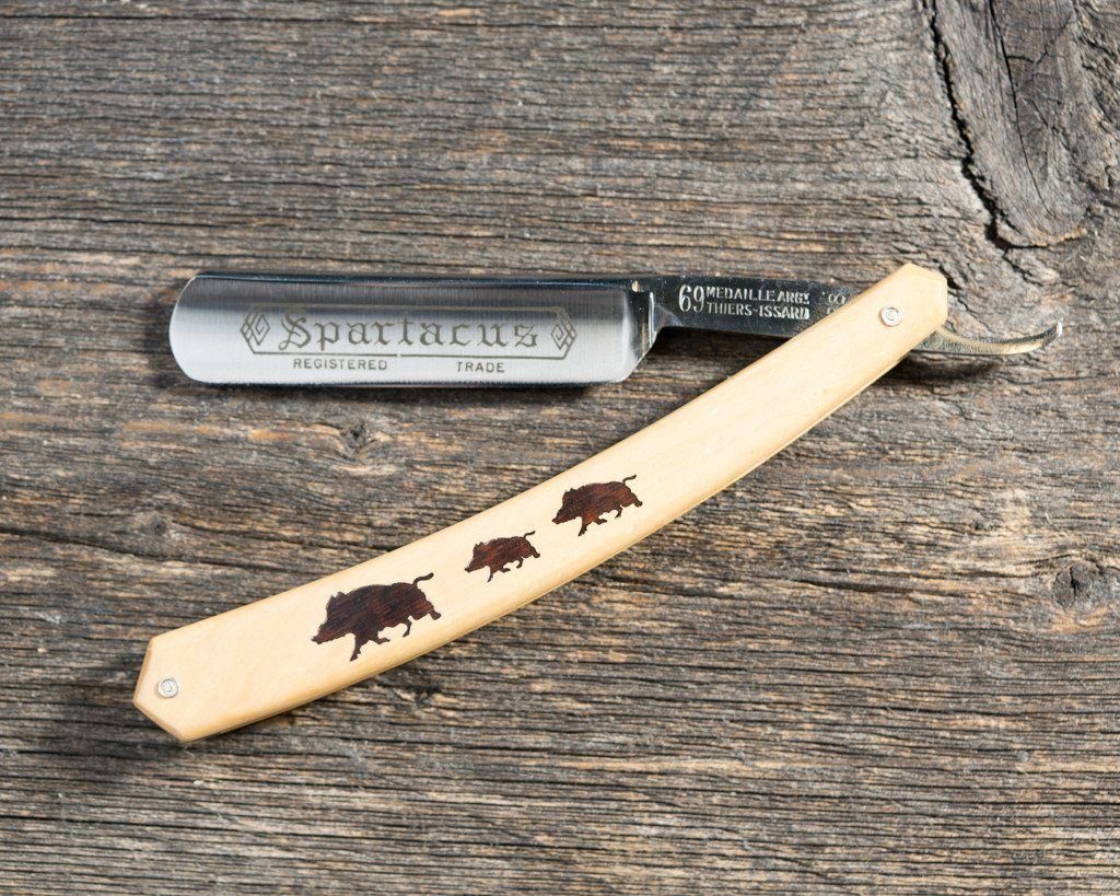 Thiers Issard New Old Stock Straight Razor Spartacus, 3 Boars