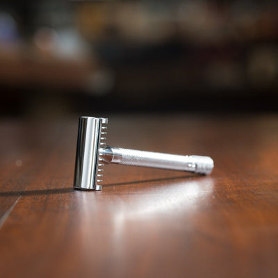 Merkur Double Edge Safety Razor, Open Tooth Comb, Extra Long Handle, Chrome 25C