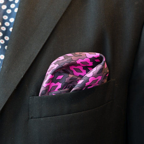 LVJ Haberdasher Fuchsia Electric Silk Pocket Square