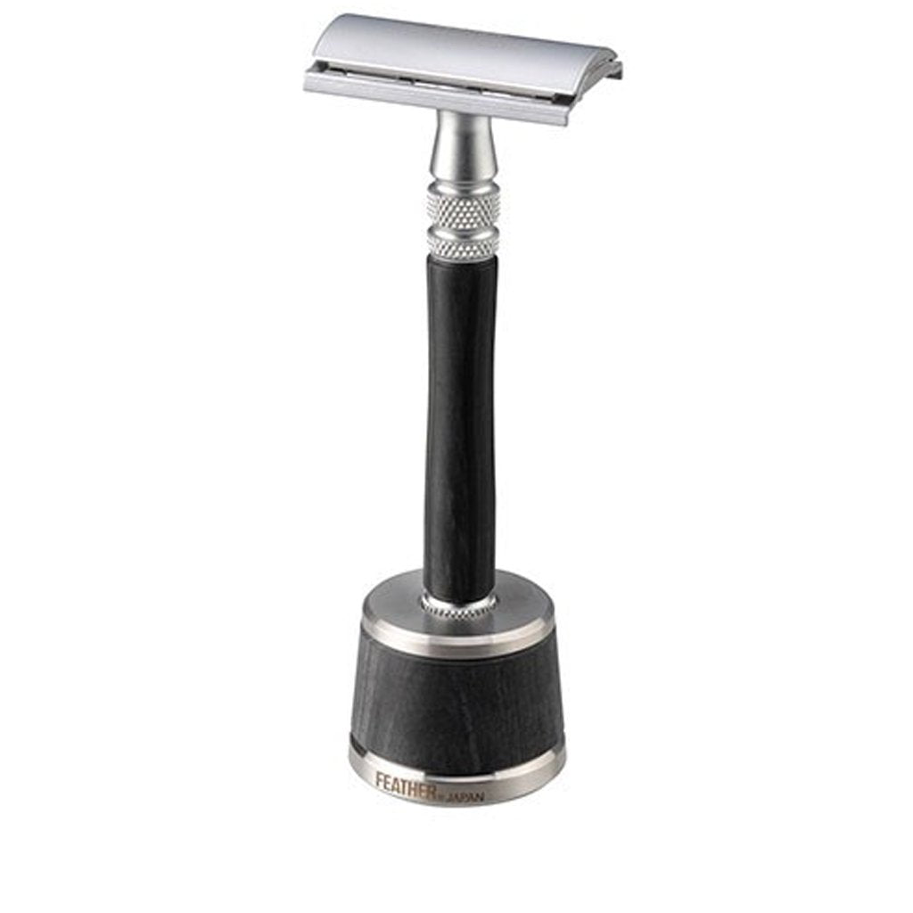 Feather WS-D2S Wood Handle Stainless Steel DE Safety Razor