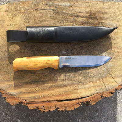Helle Knives Jegermester 135mm Hunting Knife, Curly Birch Handle w/ Leather Sheath