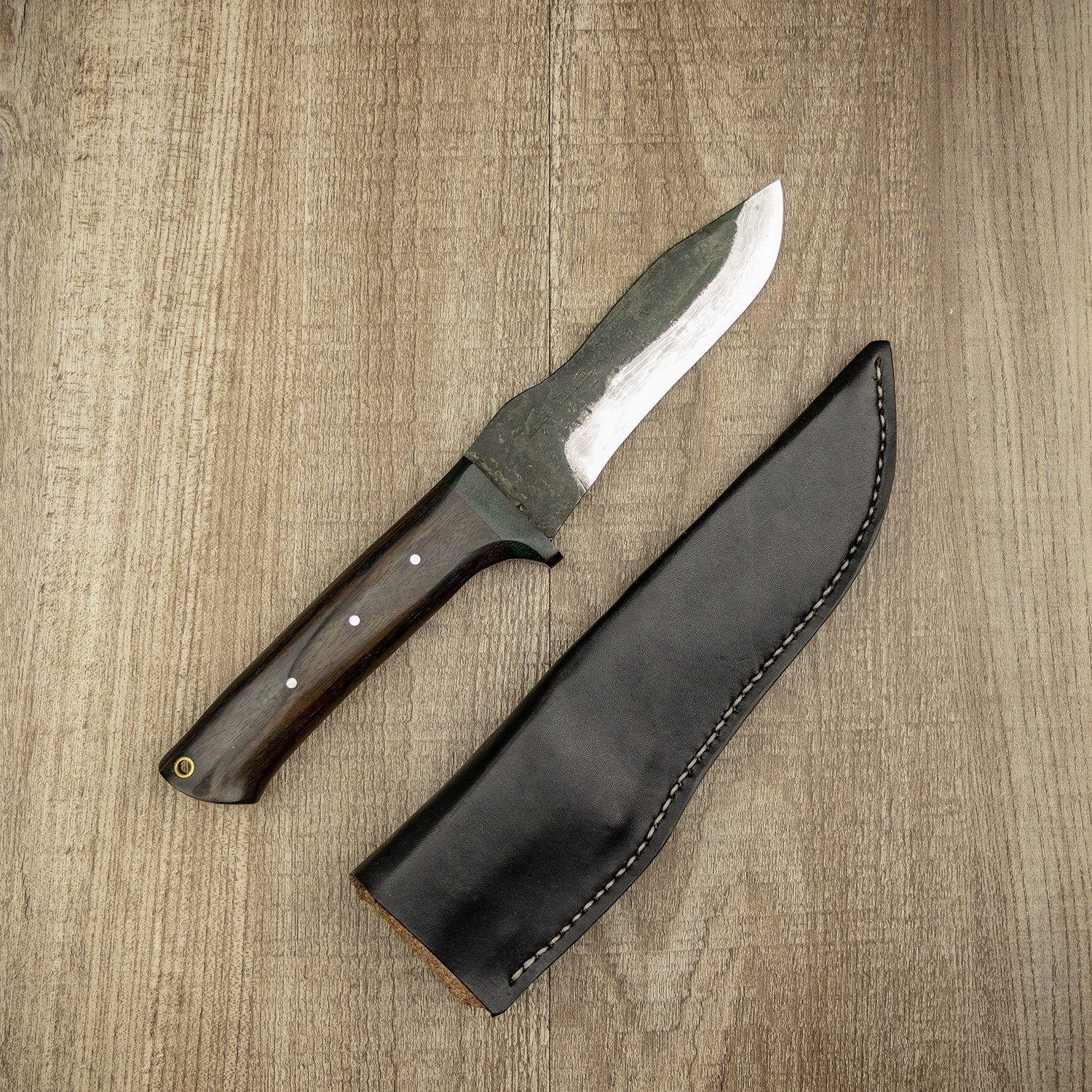 Nakayama Kurouchi Damascus Ebony Handle Outdoor Knife 120mm