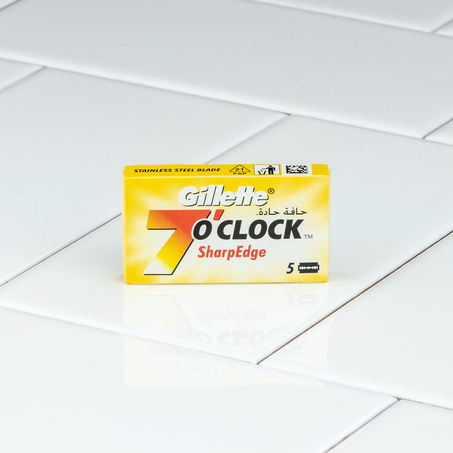 Gillette 7 O'Clock SharpEdge Yellow Double Edge Razor Blades, 5 Pack