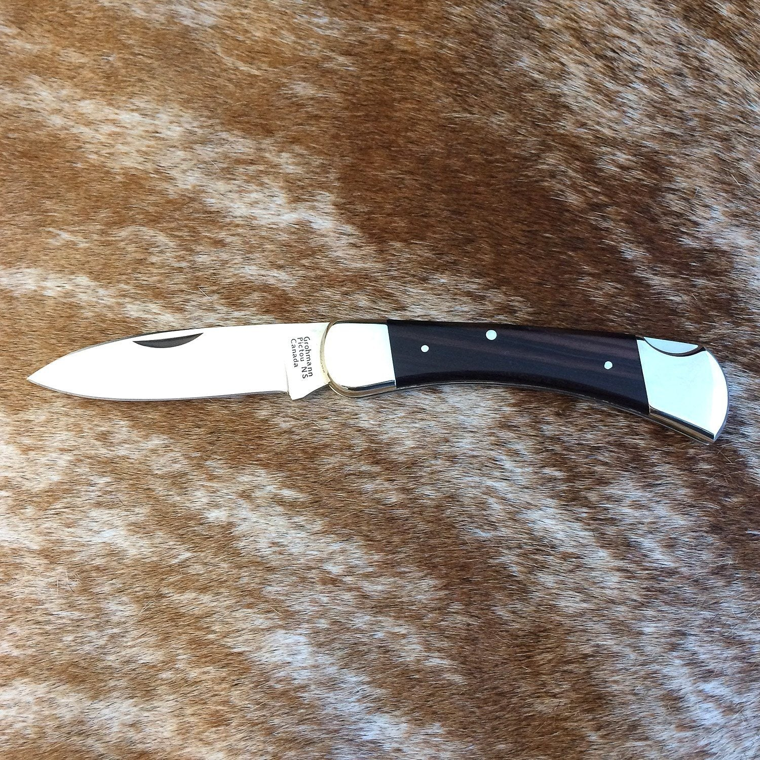 Grohmann Lockblade Hunter Nickel Silver with Rosewood Handle, 4.75""