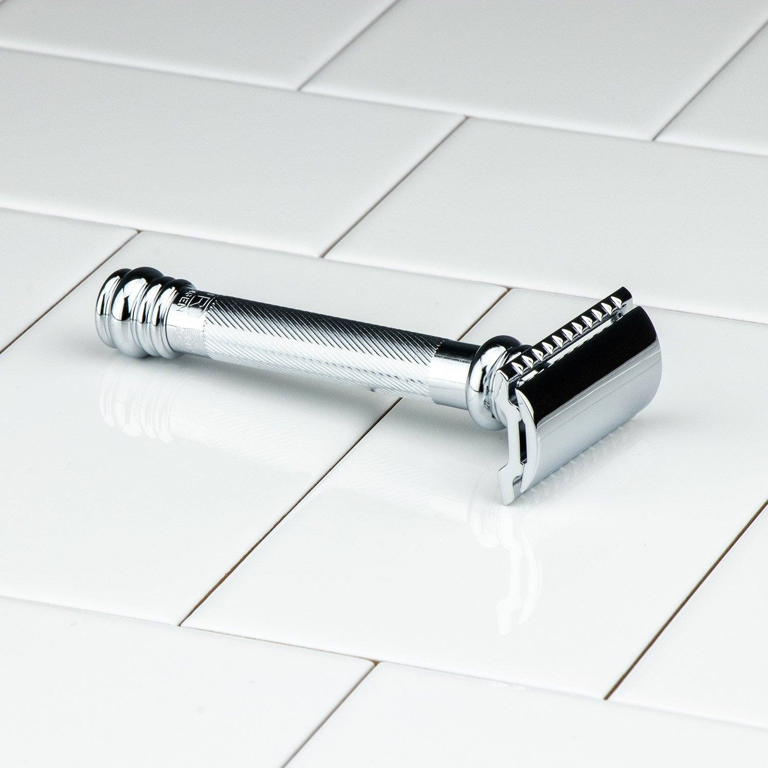 Merkur Double Edge Safety Razor, Straight Cut, Extra Long Handle, 38C