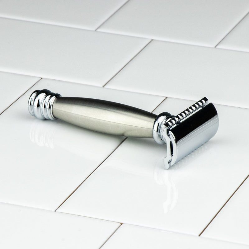 Merkur Double Edge Safety Razor, Straight Cut, Extra Long Stainless Steel Handle 43C